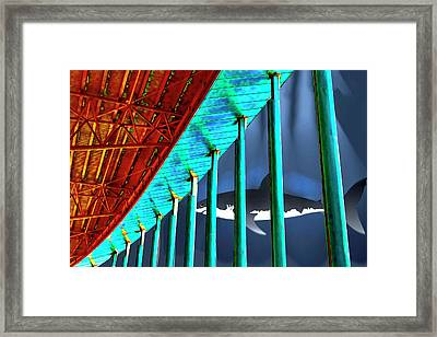 Surreal Bridge Shark Cage Framed Print by Elaine Plesser