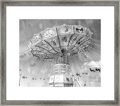 Framed Print featuring the photograph Surreal Carnival Rides - Carnival Rides Ferris Wheel Black And White Photography Prints Home Decor by Kathy Fornal