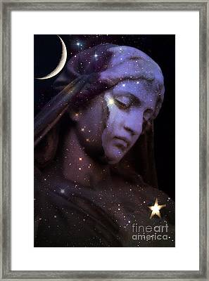 Surreal Celestial Angelic Face With Stars And Moon - Purple Moon Celestial Angel  Framed Print by Kathy Fornal