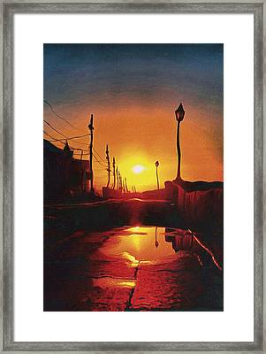 Surreal Cityscape Sunset Framed Print