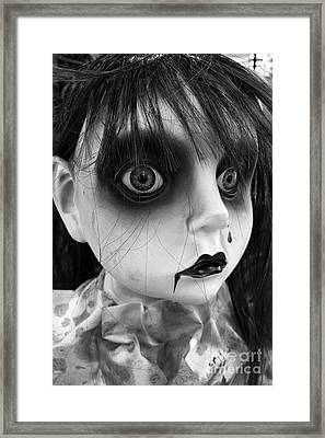 Surreal Dark Haunting Female Ghost Face - Halloween Portraits Spooky Gothic Art Decor Framed Print by Kathy Fornal