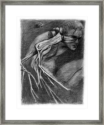 Surreal Drawing With Figure Cicada And Branch Framed Print