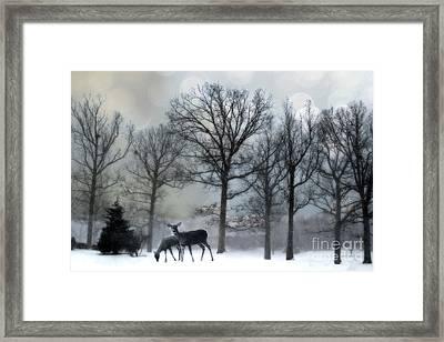 Surreal Dreamy Deer Herd Michigan Winter Snow Framed Print