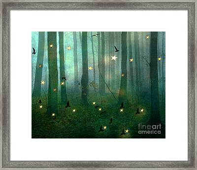 Surreal Dreamy Fantasy Nature Fairy Lights Woodlands Nature - Fairytale Fantasy Forest Woodlands  Framed Print by Kathy Fornal