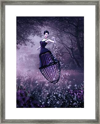Surreal Fairy And Her Magic Seed  Framed Print by Britta Glodde