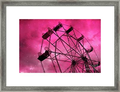 Surreal Fantasy Dark Pink Ferris Wheel Carnival Ride Starry Night - Pink Ferris Wheel Home Decor Framed Print by Kathy Fornal