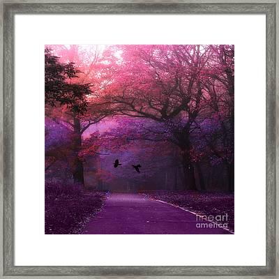 Surreal Fantasy Dark Pink Purple Nature Woodlands Flying Ravens  Framed Print