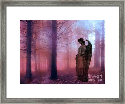 Surreal Fantasy Fairytale Angel In Foggy Woodlands - Ethereal Angel Art Framed Print by Kathy Fornal