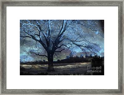 Surreal Fantasy Fairytale Blue Starry Trees Landscape - Fantasy Nature Trees Starlit Night Wall Art Framed Print by Kathy Fornal