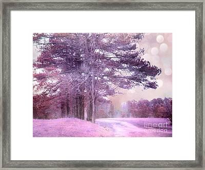 Surreal Fantasy Fairytale Purple Lavender Nature Landscape - Fantasy Lavender Bokeh Nature Trees Framed Print