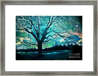 Surreal Fantasy Gothic Aqua Teal Blue Trees Nature Infrared Landscape Wall Art Framed Print