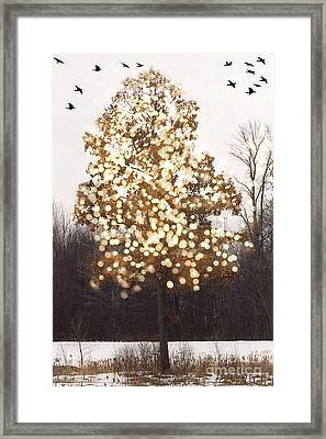 Surreal Fantasy Sparkling Nature With Birds Framed Print
