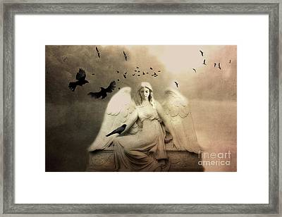 Surreal Gothic Cemetery Angel With Flying Ravens - Ethereal Surreal Gothic Angel Art Framed Print by Kathy Fornal