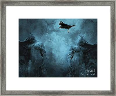 Surreal Gothic Cemetery Mourners And Raven Framed Print by Kathy Fornal