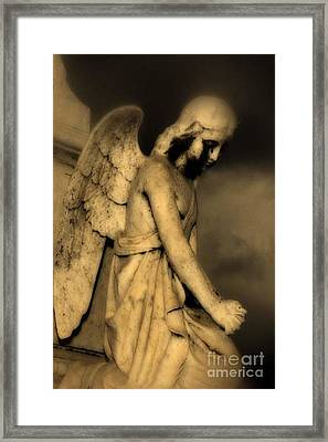 Surreal Gothic Dark Cemetery Angel With Black Face Framed Print by Kathy Fornal