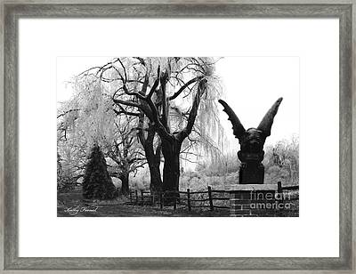 Surreal Gothic Gargoyle Black And White Tree Infrared Landscape  Framed Print by Kathy Fornal