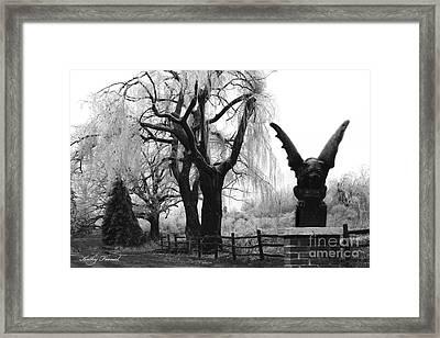 Surreal Gothic Gargoyle Black And White Tree Infrared Landscape  Framed Print