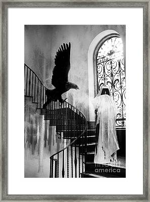 Surreal Gothic Grim Reaper With Eagle Black And White - Halloween Spooky Haunting  Framed Print