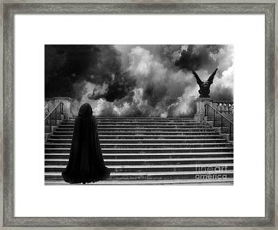Surreal Gothic Infrared Black Caped Figure With Gargoyle On Paris Steps Framed Print by Kathy Fornal