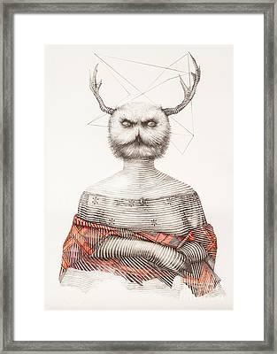 Surreal Hand Drawing Of A Lady Owl, Decorative Artwork  - Cebanenco Stanislav Framed Print by Cebanenco Stanislav