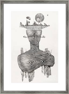 Surreal Hand Drawing, Portrait Decorative Artwork  - Cebanenco Stanislav Framed Print by Cebanenco Stanislav