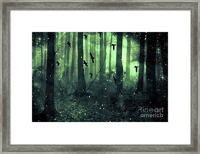 Surreal Haunting Fantasy Green Woodlands Trees Flying Ravens Stars Fairylights Sparkling Nature  Framed Print