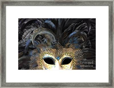 Surreal Haunting Gothic Masquerade Mask Art Print - Black Gold Mask Costume Home Decor Framed Print by Kathy Fornal