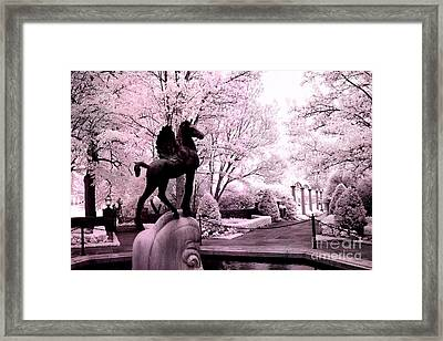 Surreal Infared Pink Black Sculpture Horse Pegasus Winged Horse Architectural Garden Framed Print by Kathy Fornal