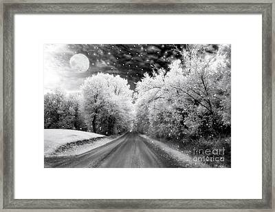 Surreal Infrared Black And White Fairytale Full Moon Nature Country Road - Ethereal Infrared Nature Framed Print