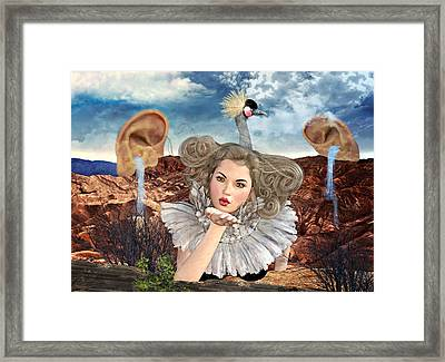 Surreal Kiss Framed Print by Ally White
