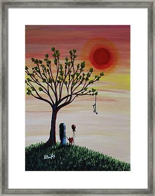 Surreal Landscape Art With Tree Of Life Framed Print