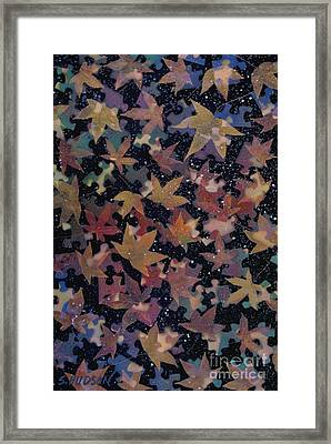 surreal landscape with autumn leaves - Autumn Sky Framed Print