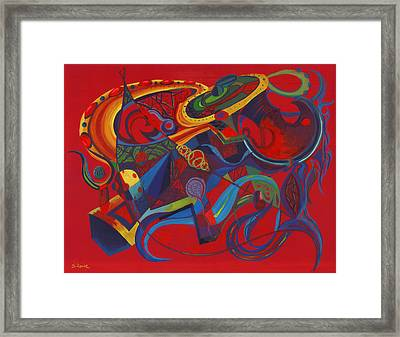 Framed Print featuring the painting Surreal Medieval Weaponry by Shawna Rowe