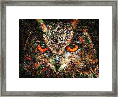 Surreal Owl Portrait Deep Dream With Dogs Framed Print by Matthias Hauser
