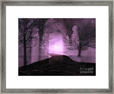 Surreal Purple Fantasy Nature Path Trees Landscape  Framed Print