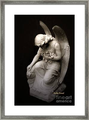 Surreal Sad Angel Kneeling In Prayer Framed Print