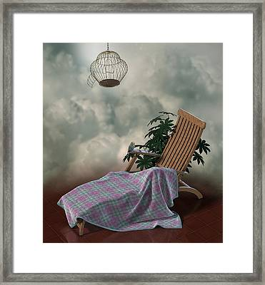 Surreal Scene Of Chair With Blanket And Little Parrot Framed Print