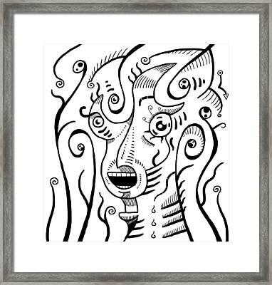Surrealism Scream Black And White Framed Print