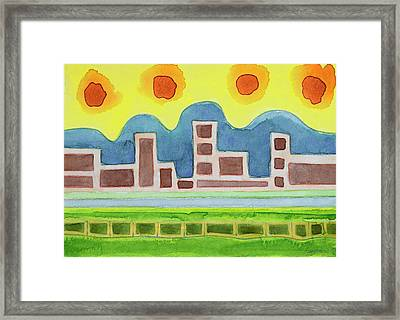 Surreal Simplified Cityscape  Framed Print