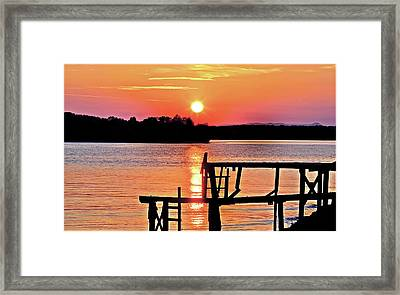 Surreal Smith Mountain Lake Dock Sunset Framed Print