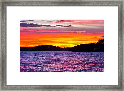 Surreal Smith Mountain Lake Sunset 2 Framed Print