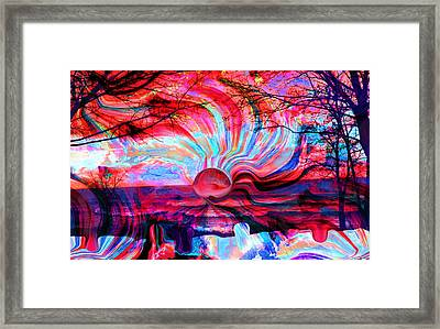 Surreal Sunset In Candy Colors Framed Print by Abstract Angel Artist Stephen K