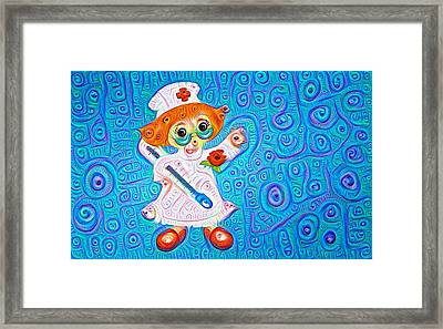 Surreal Trippy Nurse Deep Dream Picture Framed Print by Matthias Hauser