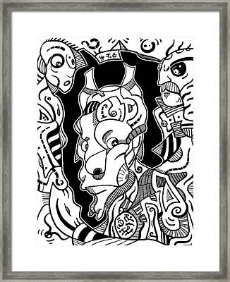 Surrealism Pagan Black And White Framed Print
