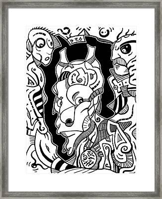 Surrealism Pagan Black And White Framed Print