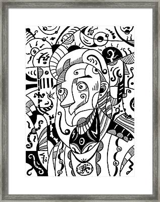 Surrealism Philosopher Black And White Framed Print