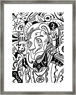 Surrealism Philosopher Black And White Framed Print