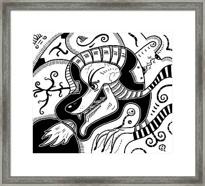 Surrealism Wolf Black And White Framed Print