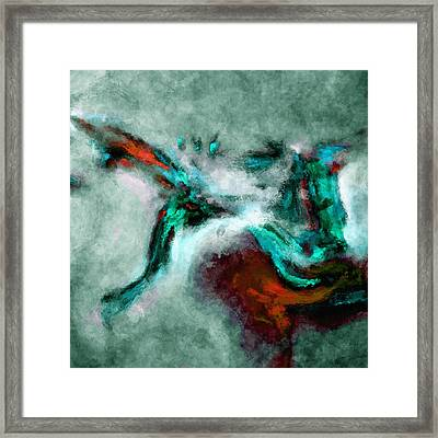 Framed Print featuring the painting Surrealist And Abstract Painting In Orange And Turquoise Color by Ayse Deniz