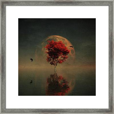 Surrealistic Landscape With Red Mapple And Full Moon Framed Print